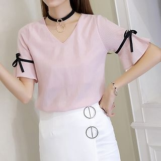 V-Neck Short-Sleeve Top 1060871660