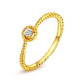 18K Yellow Gold Diamond Solitaire Halo Stackable Twisted Band Wedding Ring (0.07ct) thumbnail