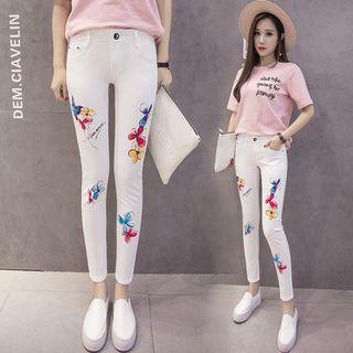 Printed Skinny Cropped Jeans 1059950512