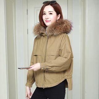 Faux Fur Trim Hooded Zip Jacket