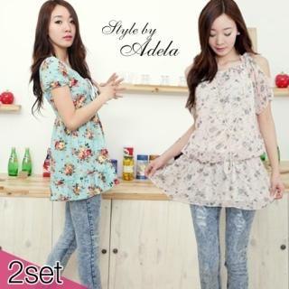 Buy Adela Shop Set: Floral Print Smocked Dress + Skinny Jeans 1022853995