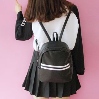 Striped Faux Leather Backpack 1061768500