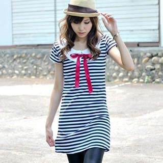 Picture of MYHEART Bow-Neck Striped Minidress 1022537953 (MYHEART Dresses, Womens Dresses, Taiwan Dresses)