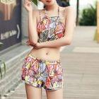 Set: Patterned Bikini + Shorts + Cover Top 1596