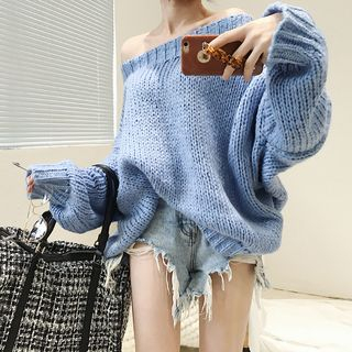 Off-Shoulder Chunky Knit Sweater