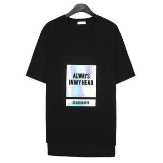 Elbow-Sleeve Lettering T-Shirt 1061574429
