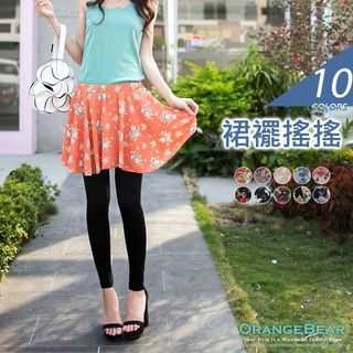 Inset Floral Chiffon Skirt Leggings 1054257106