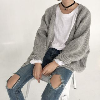 Plain Ribbed Knit Cardigan 1059768098