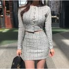Set: Faux-Pearl Buttoned Cardigan + Mini Skirt 1596