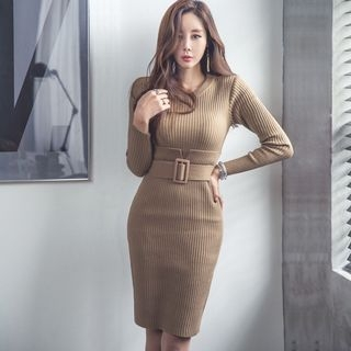 Long-Sleeve Ribbed Bodycon Dress 1057102408