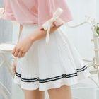 Contrast Trim Accordion Pleat Skirt 1596