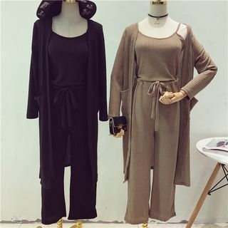 Set: Ribbed Camisole Top + Wide Leg Pants + Long Cardigan 1057650507