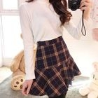 Ruffle-Hem Plaid Mini Skirt 1596