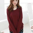 Set: Bow-Accent Knit Top + Heart-Patterned Tank Top 1596