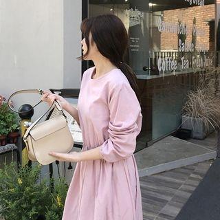 Long-Sleeve Smocked-Waist Midi Dress 1065581386