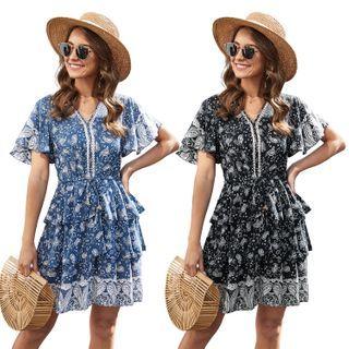 Short-sleeve | V-neck | Floral | Dress