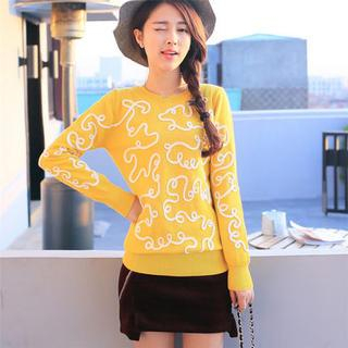 Image of Appliqu Knit Top