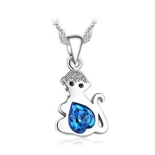 925 Sterling Silver Chinese Zodiac Monkey Pendant with Blue Swarovski Element Crystal and Necklace