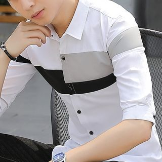 Image of Elbow-Sleeve Colored Panel Shirt