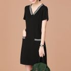 V-neck Short-Sleeve Minidress 1596