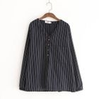 Pinstriped V-Neck Blouse 1596