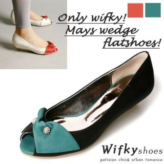 Buy Wifky Bow Accent Contrast Wedge Pumps 1022489130
