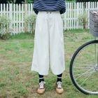 Corduroy Wide Leg Cropped Pants 1596