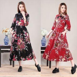 Floral Print Mandarin Collar Midi Dress 1055067785