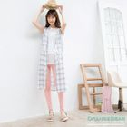 Drawstring Check Sleeveless Shirtdress 1596