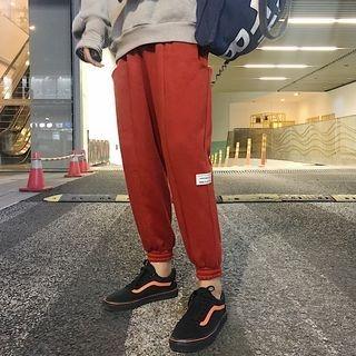 Drawstring Elastic-Cuff Applique Sweatpants