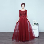 Elbow-Sleeve Lace Panel A-line Evening Gown 1596