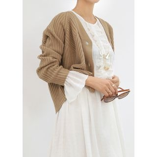 V-Neck Ribbed Cardigan 1057725846