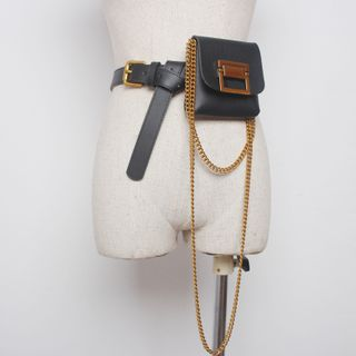 Image of Chained Faux Leather Belt Bag