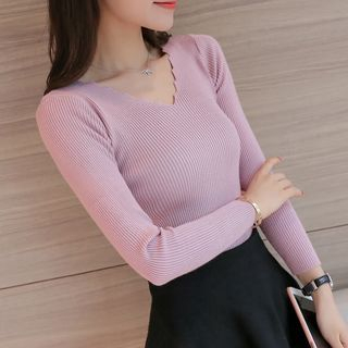 V-Neck Ribbed Knit Top 1053834101