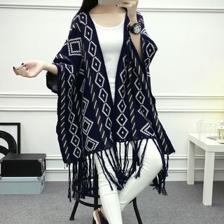 Argyle Pattern Knit Poncho 1056423186