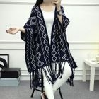 Argyle Pattern Knit Poncho 1596
