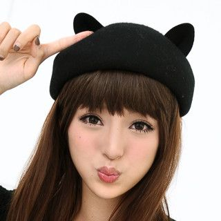 Cat Ear Hat Black - One Size