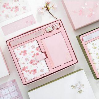 Image of Stationery Set: Floral Print Notebook + Ruler + Pen + Masking Tape