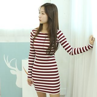 Stripe Ribbed Bodycon Dress 1053762474