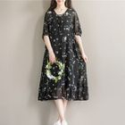 Floral Print Elbow Sleeve Chiffon Dress 1596