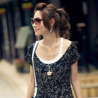 Buy PUFFY Set: Studded Tank Top + Pattern Tee-Shirt Dress Black – One Size 1022945715