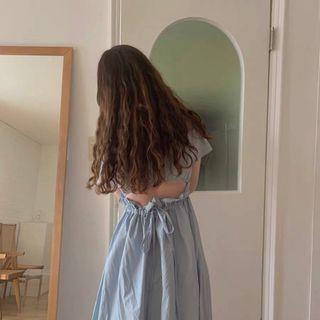 Short-sleeve   Dress   Blue   Size   One