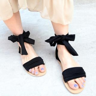 Picture of Drama Tied Ankle Sandals 1022841113 (Sandals, Drama Shoes, Korea Shoes, Womens Shoes, Womens Sandals)