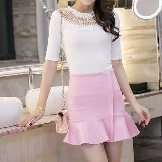 Ruffle Hem Mini Skirt 1057216368