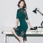 Lace Panel Elbow-Sleeve Sheath Party Dress 1596