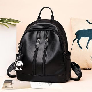 Image of Bear Charm Faux Leather Backpack
