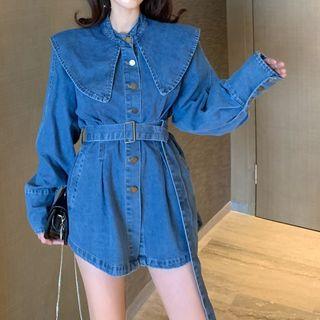 Long-sleeve | Babydoll | Blouse | Denim | Blue | Size | One