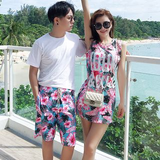 Image of Couple Matching Floral Bikini / Cover-Up Top / Beach Shorts / Set