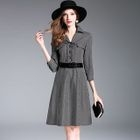 Houndstooth Lace-Up A-Line Dress 1596