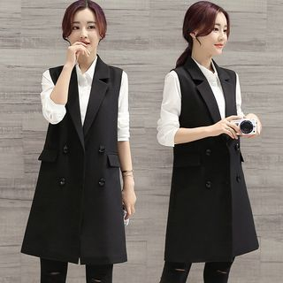 Image of Double Breasted Long Vest